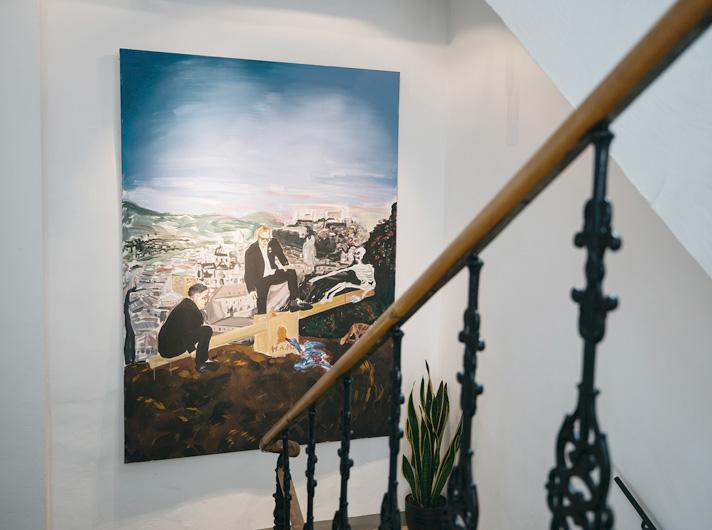 Kunst Treppenhaus 2 arthotel blaue Gans Salzburg