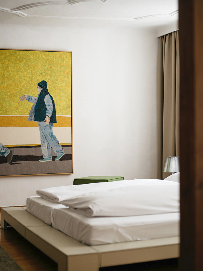 Suite Cityflat Schlafzimmer arthotel Blaue Gans Salzburg